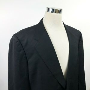 Canali Mens 44L Sport Coat 100% Wool All Black